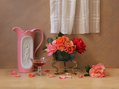 Embellishment of Life. (Esther Spektor) Tags: pink blue red stilllife orange woman white color reflection green art texture water glass leaves rose coral metal composition canon stand wooden petals spring stem artwork beige ceramics pattern wine availablelight decorative curtain beverage peach silk ivory stilleben bowl dancer relief fantasy embellishment romantic imagination esther bouquet plaid thorn brass pitcher arrangement tabletop bodegon sheer naturemorte goblet artisticphotography naturamorta spektor naturezamorta coth creativephotography artdigital bej artofimages exoticimage blinkagain creativephotocafe eshterspektor besteverdigitalphotography besteverexcellencegallery