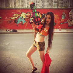 Girl and a Gun (Dezio one) Tags: china hot girl graffiti model gun shanghai moganshan mct xit dezio ajt kcw clw