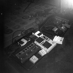 Holga_051413_01e (Mark Dalzell) Tags: camera light bw white black 120 6x6 film holga guitar flash sailors 400 pedals agfa leak expired effect developed smoove 120sf caffenol