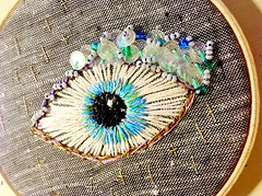 "Embroidered eye, ""GIa to kako mati"" (Vallistic) Tags: eye evileye allseeingeye embroideryart embroideredeye embroideredwallart"