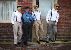 The Perez Boys (Kyle John F.) Tags: city family people silly men boys goofy portraits canon john kyle ties fun happy nc funny lads north hats suit carolina ww2 males suspenders forties fairfield fayetteville 40s perez 2470mm 40d