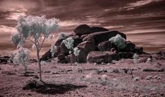 Karlu Karlu      (The Devils Marbles.) (erglis_m (Mick)) Tags: 20d clouds contrast landscape ir interesting desert canoneos20d infrared australianlandscape sureal nearinfrared infraredfilter centraldesert thedevilsmarbles