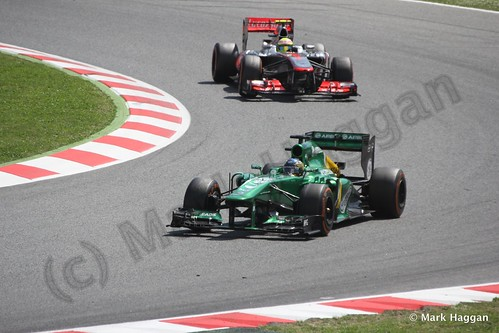 Charles Pic and Sergio Perez in the 2013 Spanish Grand Prix