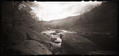 Rocks Above the River (DRCPhoto) Tags: image pinhole 120film westvirginia fujifilm zero cheatriver nph400 lenslessphotography 6x12format 612f