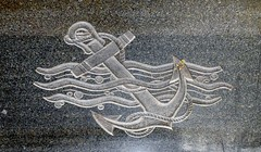 Angel of the Resurrection 112 (Nathan_Arrington) Tags: 30thstreetstation philadelphia pa pennsylvania concourse pennsylvaniarailroad pennsylvaniarailroadworldwariimemorial wwii worldwarii war military sculpture angeloftheresurrection walkerhancock monument memorial transportation transitstation railroadstation relief carving water waves aquatic naval stone marble black anchor