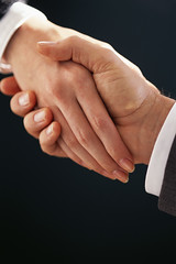 Businesspeople Shaking Hands --- Image by  Royalty-Free/Corbis (anchor1203) Tags: 2 people men togetherness hands women meeting trust males handshake whites females adults bodypart partnership cooperation teamwork businesspeople businessmeeting businessandcommerce
