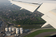 Shortly after take off from 27L at Heathrow. (Adrian Williams | P H O T O G R A P H Y) Tags: frankfurt off take british ba boeing 300 airways moor fra 767 flaps baw b767 stanwell eddf 763 gbnwb ba902
