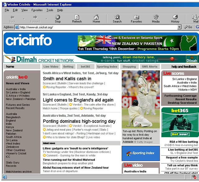 CricInfo screengrab from December 2003