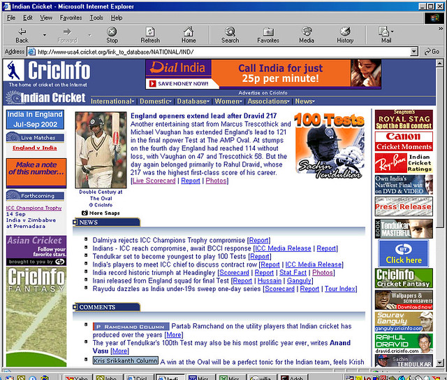 An early 2002 CricInfo India site homepage