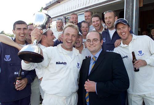 Presenting the Second Division Trophy to Chris Adams in 2001