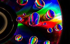 135 of 365 - Rainbow Redux (fearghal breathnach) Tags: light shadow abstract macro reflection water colors closeup drops rainbow cd creative refraction droplet sureal magnification