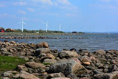 Wind power (stefanh.varberg) Tags: blue houses sea sky seascape water stone coast nikon wind sweden stones powerplant nikkor windpower halland falkenberg d5200 nikond5200 nikkor55300f4556