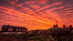 The sky is on fire! [Explored #4] (Richard Larssen) Tags: sunset red sky house norway night clouds landscape fire photography norge foto cloudy sony norwegen visit richard rogaland egersund visitnorway rx100 eigersund larssen eigery eigeroy richardlarssen larssenfoto