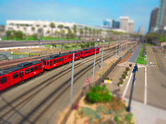 my kid's miniature diorama (tnigu) Tags: petcopark tiltshift sandiegotrolley sandiegoconventioncenter s95