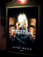 After Earth Film Billboard Poster  0168 (Brechtbug) Tags: street new york city nyc blue fiction sky building art film wall by night movie poster square mural peeling with traffic near earth flag cab taxi ad broadway smith science pop billboard m advertisement will american posters scifi billboards after characters pulp popular cabs jaden 34th herald directed shyamalan 2013