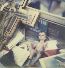 junior (davebias) Tags: film polaroid sx70 doll jesus fleamarket impossible castaways levelandtap
