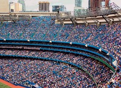 At the Ballgame (2) (TownieBrit-JiverGirl) Tags: roof people toronto architecture open baseball crowd structure ballgame skydome retractable downtowntoronto torontobluejays baseballdiamond rogerscentre
