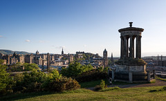 Edinburgh (Philipp Klinger Photography) Tags: uk greatbritain trip travel light sunset shadow vacation sky sun sunlight holiday green tower church monument nature grass architecture scott landscape scotland nikon edinburgh europa europe cityscape unitedkingdom britain united hill great churches kingdom capitol stewart gb philipp caltonhill sco scottmonument calton schottland d800 dugald klinger dugaldstewartmonument grosbritannien