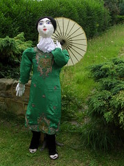 Green geisha scarecrow (Nekoglyph) Tags: summer plants green festival garden dress yorkshire traditional scarecrow craft parasol geisha portmulgrave hinderwell
