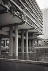 Gilbert House (2somewhere) Tags: bw lake london film monochrome architecture analog 35mm concrete blackwhite rangefinder barbican analogue kodakbw400cn brutalist olympusxa cityoflondon fzuiko35mmf28 chamberlinpowellbon