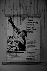 Latex Gloves (Stephen Whittaker) Tags: white black detail building abandoned architecture danger dark mono blood nikon cowboy gun sinister exploring touch rifle barrel johnson run medical explore gloves micro horror latex shock drips scare derelict liquid hazard d5100 whitto27