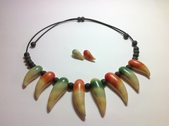 Toothy necklace and ear rings (Wendy Jorre de St Jorre) Tags: necklace jewellery rings clay ear bead poly studs polymer
