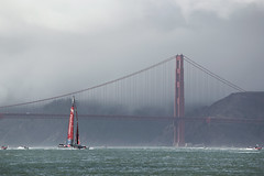 'Aotearoa' returning from the Golden Gate Bridge, San Francisco Bay, California, USA (Ministry) Tags: sanfrancisco california ca bridge newzealand usa cloud lighthouse cup fog bay boat team sailing yacht marin racing emirates goldengate catamaran headlands sail launch aotearoa americas challenger limepoint teamnewzealand wingsail ac72
