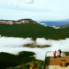 Echo Point (Juliette Younger) Tags: mist holiday mountains nature fog contrast square landscape scenery colours view bright vivid australia snap bluemountains lookout tourists retro squareformat echopoint