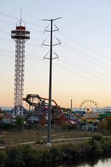 DSC05492 (Mr.Lujan) Tags: sunset moon david wheel paul construction colorado industrial cityscape crane sony ferris center denver pepsi f3 railing lujan elitchs nex sickguy