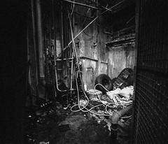 - (PatrickYHC) Tags: blackandwhite bw hongkong alley junk urbanexploration abandonedbuilding filmphotography kwuntong leicacl fujifilmnatura1600 voigtlander15mmsuperwideheliar