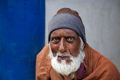 Portrait of a man in Kalimpong, India. (cookiesound) Tags: life portrait people india man face hat beard eyes asia expression oldman wrinkles indien wiseman kalimpong westbengal whitebeard manwithhat vision:outdoor=097