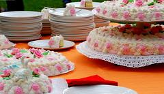 rose e panna (balenafranca) Tags: dolce festa torta piatti panna fragole