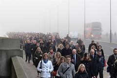 2013-12-11: Commuter Crowds (345/365) (psyxjaw) Tags: morning bridge mist bus london fog thames londonbridge river walking crowd suit commute across cityoflondon londonbus londonist commutors
