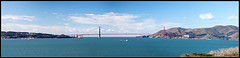 Golden Gate Bridge Panorama (e.chavez) Tags: california park city bridge ladies house west history beach skyline architecture square golden bay coast pier hall gate san francisco downtown view painted victorian twin panoramic full area alcatraz arrow peaks alamo 39 cupids