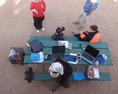 030 Vasquez Rocks Download Station (saschmitz_earthlink_net) Tags: california table orienteering aguadulce vasquezrocks losangelescounty 2013 epunch laoc losangelesorienteeringclub