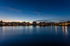 Blue Hour at Nymphenburg Palace (hjuengst) Tags: blue lake water night germany munich mnchen bayern deutschland bavaria lights see wasser nightshot bluehour blau nymphenburgpalace blauestunde nymphenburgerschloss nikond7000 nikond7000hdr pwpartlycloudy