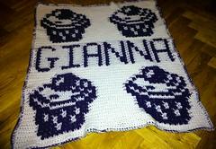 cupcake blanket for Gianna (dochol) Tags: baby chart cute wool crafts name crochet graph yarn cupcake blanket afghan bebe alphabet manta babyblanket personalised croche babyname crochethooks flickrandroidapp:filter=none