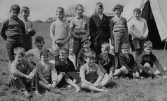 Camping Out (theirhistory) Tags: uk camping camp england boys grass shirt children shoes coat rope shorts raincoat wellies tentjumper