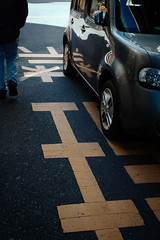 (2 Funky) Tags: road reflection car sign yellow word snapshot reflect     rd1s leicasummicron35mmf20iii