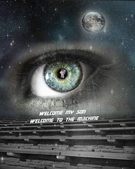 Welcome to the Machine (Cat Girl 007) Tags: birthday moon eye stairs photomanipulation astronaut pinkfloyd galaxy photomontage redrocks welcometothemachine stormthorgerson pragueclock