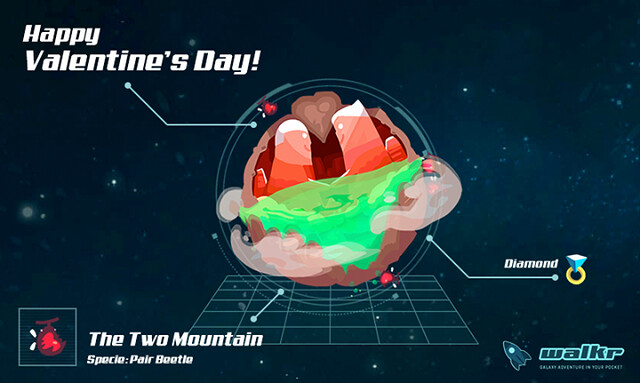 明天就是情人節啦~ 大家有發現傳說中的「對望之山」星球了嗎?兩座對望的山峰像極了含情脈脈的情侶,每年只有固定的時間,海水才會降下看到他們相握的雙手峭壁。真是浪漫阿(流淚~ <3 ) 快加入 Walkr 呀→→ http://goo.gl/fvrtKQ! Tomorrow is the Valentines Day~ Did you discover the festival planet The Two Mountain for this month? Launch your Explorer NOW!