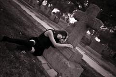 Broken Girl (piecesofe) Tags: girl cemetery canon dark blackwhite tombstone 40mm tombstones darkphotography darkart blackwhitephotography cemeteryphotography canon6d