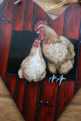 Buff Orpington Rooster and Hen (sherrylpaintz) Tags: original chickens love nature floral painting design boards couple colorful artist heart natural folk ooak decorative wildlife birdhouse style lovers romantic rooster chic sweethearts custom hen raffia redbarn acrylicpainting valentinesday whimsical treasures realism primitive dcor realistic art artist style hand bufforpington wildlife folk birdhousepainting primitive painted chic shabby decorative sherrylpaintz decorating