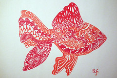 Poisson rouge - Zentangle (Nicole Fodale) Tags: fish poisson zentangle