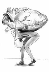 Demenagement - 2015 (Michel Soucy) Tags: portrait strange fashion pencil death sketch funny drawing surrealism dream sketchbook valentine dessin caricature surrealist draw facebook violent soucy