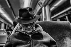 ...BorsalinoNap... (7H3M4R713N) Tags: old city people blackandwhite france men hat underground subway lowlight europa europe lyon metro fujifilm personne borsalino oldperson xt1 pixelpeeper flickrunitedaward fujinonxf23mmf14 imfuji