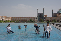 on a hot Summers day (=Mirjam=) Tags: blue holiday boys water fountain architecture square fun big travels afternoon iran culture traveling mei tradition esfahan isfahan hotday 2016 coolingdown traveltheworld seeingtheworld beautifuliran nikond750