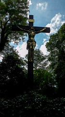 Cross on a cemetery (LamiaDeTenebris) Tags: trees cemetery cross jesus kreuz inri augsburg