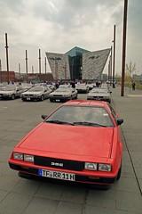 The Red One (12647) (jonathanclark) Tags: car spring automobile steel belfast gathering northernireland titanic delorean iconic slipway stainless titanicquarter belfastharbourestate