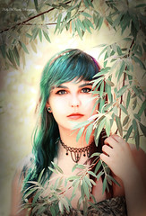 Peacock Pixie (Kelly McCarthy Photography) Tags: portrait tree closeup forest outdoors necklace model woods colorful bokeh makeup depthoffield portraiture bluehair purplehair greenhair catchycolorsgreen catchycolorsblue